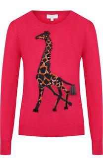 Шерстяной пуловер с круглым вырезом и декоративной вышивкой Escada Sport