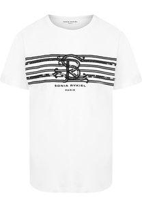 Хлопковая футболка с круглым вырезом и принтом Sonia Rykiel