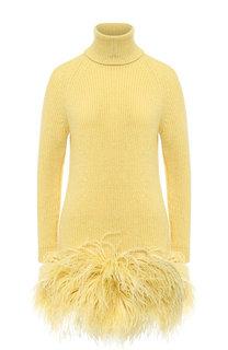 Вязаное шерстяное платье с перьевой отделкой No. 21