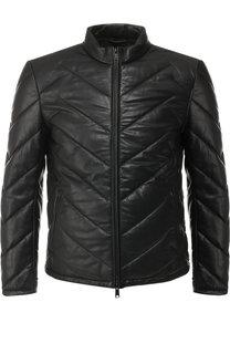 Кожаная куртка на молнии с воротником-стойкой Emporio Armani