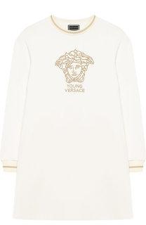 Хлопковое мини-платье со стразами Young Versace