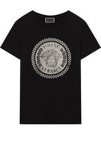Хлопковая футболка с металлизированным принтом Young Versace
