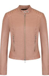 Приталенная кожаная куртка с воротником-стойкой Belstaff