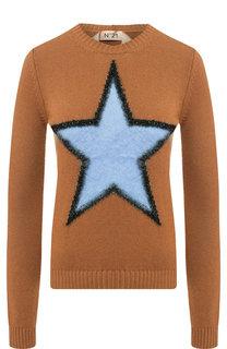 Шерстяной пуловер с декоративной отделкой в виде звезды No. 21
