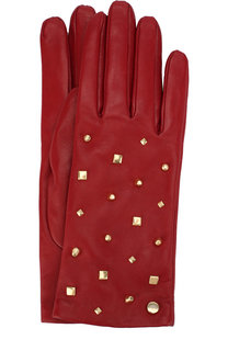 Кожаные перчатки с декоративной отделкой Emporio Armani