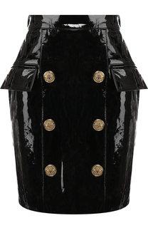 Кожаная мини-юбка с декоративными пуговицами Balmain