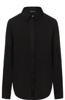 Однотонная блуза с отложным воротником DKNY