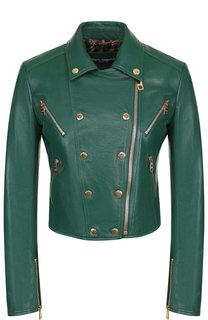 Кожаная куртка на молнии Dolce & Gabbana