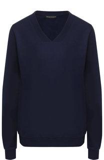 Хлопковый пуловер с V-образным вырезом Emporio Armani