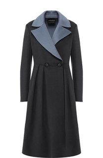 Приталенное пальто из смеси шерсти и кашемира Emporio Armani