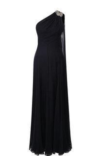 Шелковое платье-макси с декоративной отделкой Alexander McQueen