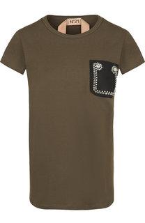 Хлопковая футболка с декоративной отделкой No. 21