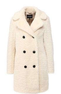 Двубортное меховое пальто с отложным воротником Emporio Armani