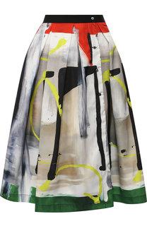 Шелковая юбка-миди с принтом sara roka