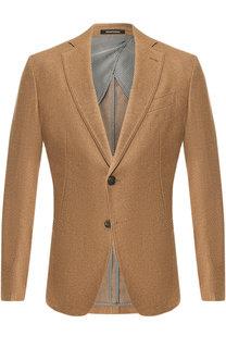 Однобортный пиджак из смеси шерсти и кашемира Emporio Armani
