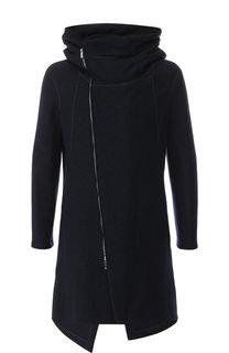 Пальто из шерсти на косой молнии с капюшоном Emporio Armani