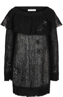 Вязаный пуловер с оборкой и пайетками Valentino
