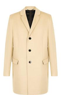 Однобортное пальто из смеси шерсти и кашемира HUGO