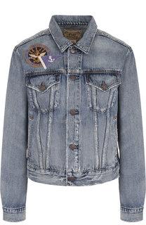 Джинсовая куртка с потертостями декоративными нашивками Polo Ralph Lauren