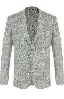 Однобортный пиджак из смеси шерсти и шелка BOSS