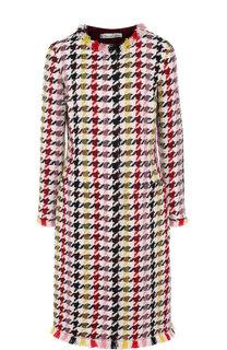 Вязаное пальто с круглым вырезом и бахромой Oscar de la Renta