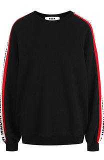 Хлопковый пуловер с контрастной отделкой на рукаве MSGM