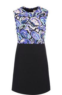 Приталенное мини-платье из смеси шерсти и шелка с принтом Emilio Pucci