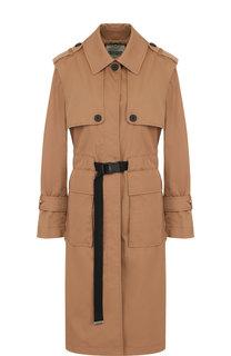 Однотонное пальто с контрастным поясом и накладными карманами Kenzo