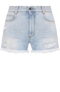 Джинсовые мини-шорты с бахромой Stella McCartney