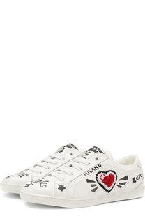 Кожаные кеды на шнуровке Dolce & Gabbana