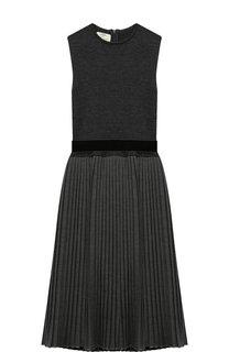 Платье с плиссированной юбкой и бархатным поясом Caf