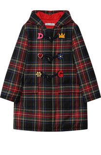 Шерстяной дафлкот с капюшоном и декором Dolce & Gabbana