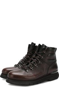 Высокие кожаные ботинки на шнуровке с внутренней меховой отделкой W.Gibbs