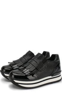 Кожаные кроссовки с бахромой и эластичными вставками Hogan