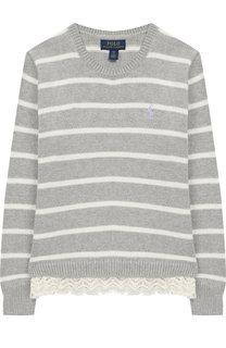Хлопковый пуловер с отделкой Polo Ralph Lauren