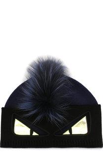 Шерстяная шапка с отделкой из меха лисы Fendi