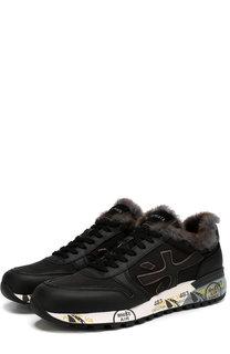 Комбинированные кроссовки Mick на шнуровке с внутренней меховой отделкой Premiata