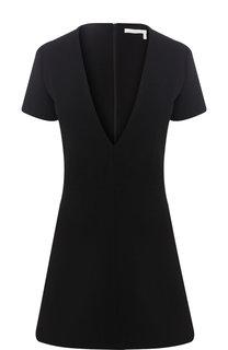 Шерстяное мини-платье с глубоким вырезом Chloé