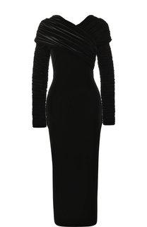 Бархатное платье-миди с драпировкой Christopher Kane