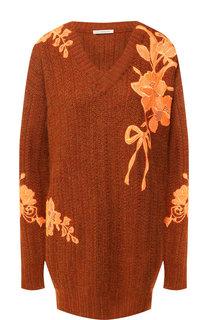 Шерстяной пуловер с декоративной вышивкой Christopher Kane