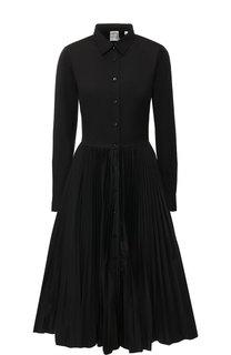Однотонное платье-миди с плиссированной юбкой sara roka