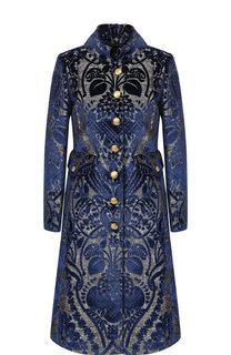 Приталенное пальто с принтом Dolce & Gabbana