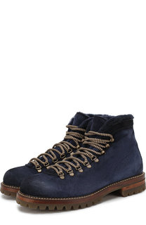 Замшевые ботинки на шнуровке с внутренней меховой отделкой Antonio Maurizi