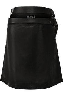 Кожаная мини-юбка с поясом Tom Ford