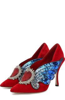 Бархатные туфли Lori с аппликациями на шпильке Dolce & Gabbana