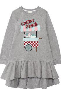 Хлопковое платье с асимметричной оборкой Fendi