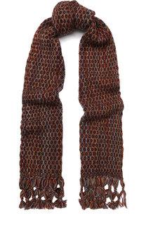 Кашемировый шарф фактурной вязки с бахромой Loro Piana