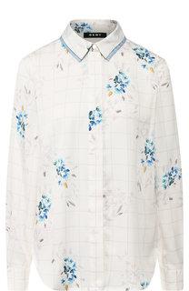 Блуза в клетку с принтом DKNY
