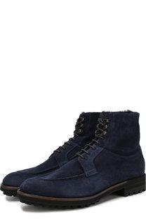 Замшевые высокие ботинки на шнуровке с внутренней меховой отделкой Antonio Maurizi