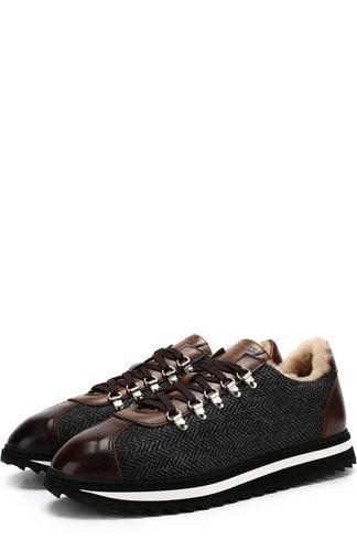 Комбинированные кроссовки Winnipeg на шнуровке с внутренней меховой отделкой Doucals